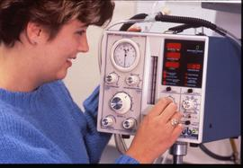 BCIT School of Health Sciences, nurse with monitoring device, ca. 1987 [2 of 2 photographs]