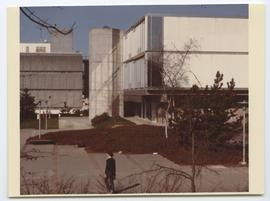 British Columbia Institute of Technology - Burnaby campus - early exterior photograph with buildi...