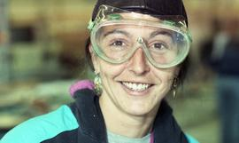 BCIT Women in Trades; carpentry, woman with protective eyewear [2 of 2 photographs]