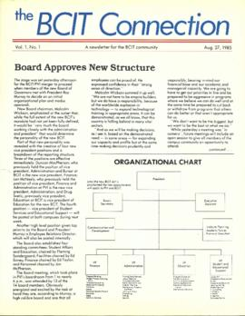BCIT Connection, vol. 1, no. 1, 1985-08-27