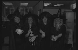 Left to right: Jan Wadsworth, Mariana Rogic, Cathy Cruickshank, Lisa Pedersen dressed as witches ...