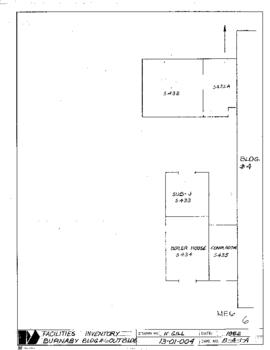 Facilities inventory Burnaby building 6 , NE06, floor plan, 1982