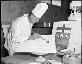 BC Vocational School Baking Course ; instructor decorating a cake using a painting technique [1 o...