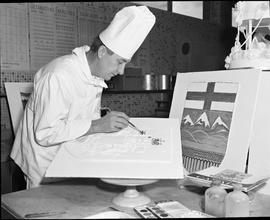 BC Vocational School Baking Course ; instructor decorating a cake using a painting technique [2 o...
