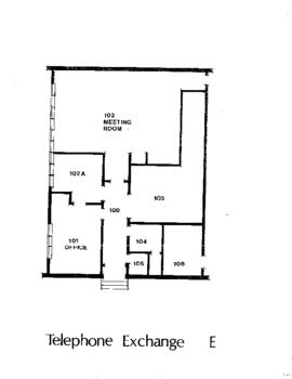 SE09, Facilities inventory Burnaby, formerly Telephone exchange E, floor plan, ca.1980s