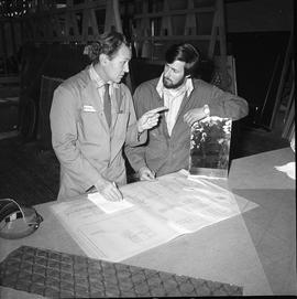 BCVS Glazier program ; two men looking at blueprints [3 of 3]