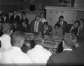 Forest Products, 1965; men watching a model sawmill demonstration [1 of 2]