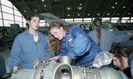 BCIT women in trades; aviation, female students working on aviation equipment inside a hangar [1 ...