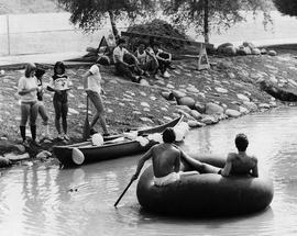 1981 Photograph of BCIT students on Guichon Creek - anything that floats race