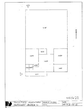 NE16 Facilities inventory Burnaby Bldg. no. 22, floor plan, ca. 1982