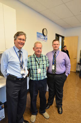 Cam Dryhurst retirement (AME M instructor) with Gord Turner (Associate Dean) on left and Steve Mu...
