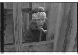 Woman hammering, close-up PVI Maple Ridge 1981; WEAT; Women