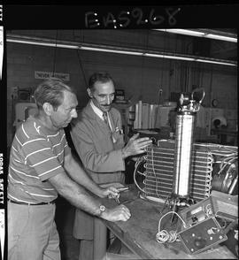 BC Vocational School image of an instructor and student in the Appliance Servicing program; parts...
