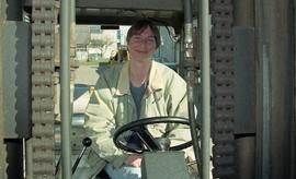 BCIT women in trades; forklift training, students driving a forklift [4 of 15 photographs]