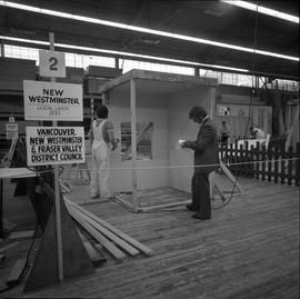 Carpentry apprenticeship contest, Burnaby campus, 1978 ; apprentice from New Westminster working ...
