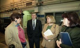 BCIT women in trades; steel fabrication, BCIT staff members and VIPs talking inside a shop [6 of ...