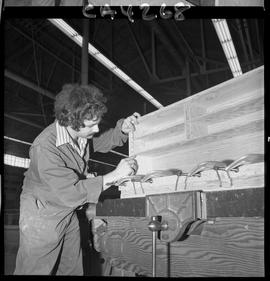 B.C. Vocational School; Carpentry Trades student measuring a plywood shelving unit that is sittin...