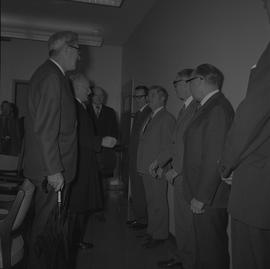 Dean H. Goard, Principal; Governor General the Right Honourable Roland Michener talking to a grou...