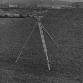 Survey, 1971; a level on a tripod on a hill [2 of 4]