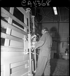 B.C. Vocational School; Carpentry Trades student working with equipment inside of the Carpentry s...