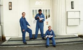 Aviation, students in uniforms holding books while standing outside a BCIT building [6 of 10 phot...