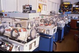 BCIT School of Health Sciences, Neonatal pediatrics CCU, incubators, ca. 1987 [2 of 3 photographs]