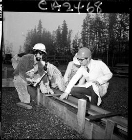 B.C. Vocational School; Carpentry Trades students building foundation forms with instructor (3 of 6)