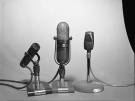British Columbia Institute of Technology Broadcasting ; 1960s ; three different RCA microphones