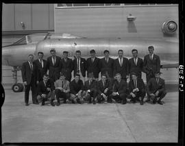 British Columbia Vocational School group image of Aeronautics students, instructor and aircraft i...