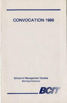 Convocation 1986; School of Management Studies, morning ceremony; June 12, 1986, program