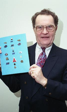 Kelly Gervais, Technology Centre, January 1995, man holding up board with pins on it [3 of 3 phot...