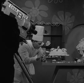 BCVS at Channel 8 TV; chef decorating a cake on a television program