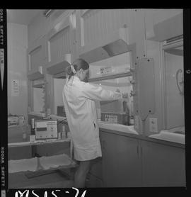 Medical isotope,  Nuclear medicine technology, 1971; a student working with radioactive material ...