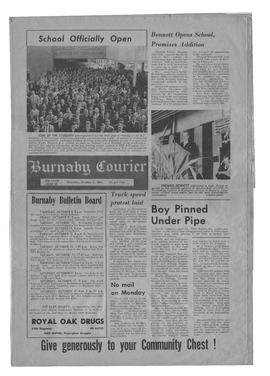 Front page of Burnaby Courier with front-page coverage of BCIT opening