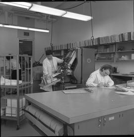 BCVS Graphic arts ; woman working at a desk ; woman using a paper collator ; woman stacking paper