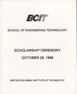BCIT School of Engineering Technology, Scholarship ceremony; October 26, 1988, program