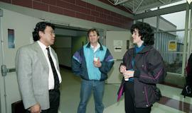 Venture students meet Tony Parsons, April 1995 [4 of 12 photographs]