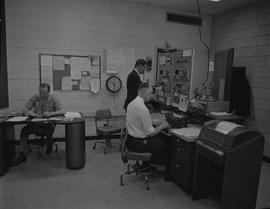 BCIT Broadcast and Television, 1964, CKWX; three men working in a control room [2 of 3]