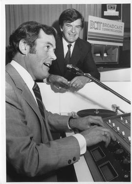 Hon. William Vander Zalm at the BCIT Broadcast Communications booth at the Discovery Fair 1982 at...