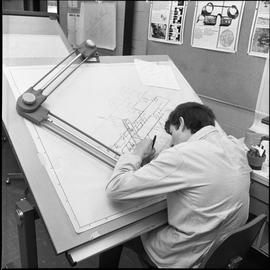 BC Vocational School drafting course ; drafting student drawing a diagram [1 of 11]
