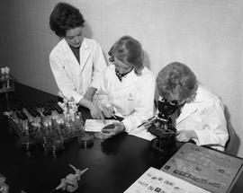 Medical Lab; three women in lab coats sitting at a desk- two women examining a petri dish and wri...
