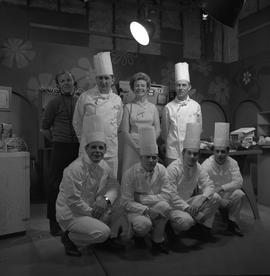 BCVS at Channel 8 TV; host, chefs and TV producer posing for a picture [1 of 3]