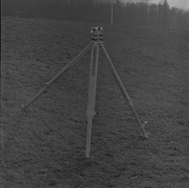 Survey, 1971; a level on a tripod on a hill [3 of 4]