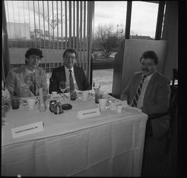 Merger of BCIT and PVI celebrations April 1986; people seated at banquet table; place cards: Sven...