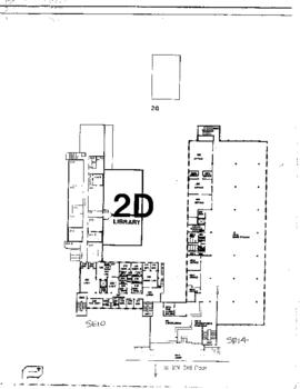 SE10 and SE14, Facilities inventory Burnaby, formerly 2D Library, second floor floor plan, ca.1980s