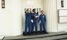 Aviation, students in uniforms holding books while standing outside a BCIT building [1 of 10 phot...