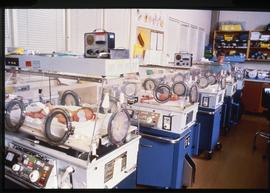BCIT School of Health Sciences, Neonatal pediatrics CCU, incubators, ca. 1987 [1 of 3 photographs]