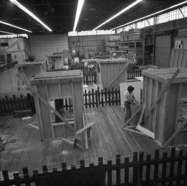 Carpentry apprenticeship contest, Burnaby campus, 1978 ; apprentices working on projects