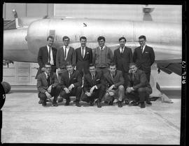 British Columbia Vocational School group image of Aeronautics students and an aircraft inside the...