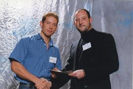 BCIT Alumni Association Entrance Award, Oct. 25, 2000; Clint Sheppard, presented by Scott Gray, P...